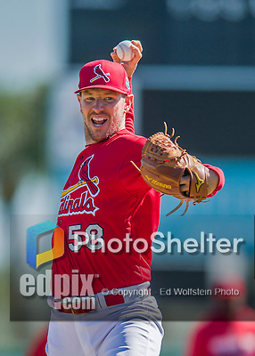 6 March 2016: St. Louis Cardinals pitcher Jeremy Hefner warms up prior to a Spring Training pre-season game against the Washington Nationals at Roger Dean Stadium in Jupiter, Florida. The Nationals defeated the Cardinals 5-2 in Grapefruit League play. Mandatory Credit: Ed Wolfstein Photo *** RAW (NEF) Image File Available ***