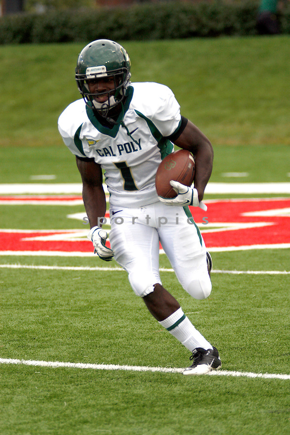 MARK RODGERS, of the Cal Poly Mustangs, in action during Cal Poly's game against the Northern Illinois Huskies on September 24, 2011 at Huskie Stadium in DeKalb, IL. NIU beat Cal Poly 47-30
