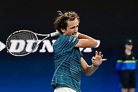 11th January 2020; Sydney Olympic Park Tennis Centre, Sydney, New South Wales, Australia; ATP Cup Australia, Sydney, Day 9; Serbia versus Russia;  Novak Djokovic versus Daniil Medvedev; Daniil Medvedev of Russia follows through on a forehand to Novak Djokovic of Serbia - Editorial Use