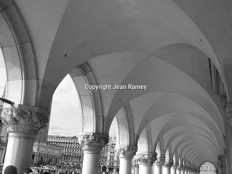 Graceful Roman arches of the Doge's Palace - Venice