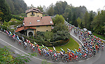 The peloton on one of the numerous climbs during the 110th edition of Il Lombardia NamedSport 2016 cycle race, running 241 km from Como to Bergamo, Italy. 1st October 2016.<br /> Picture: ANSA/Claudio Peri | Newsfile<br /> <br /> <br /> All photos usage must carry mandatory copyright credit (© Newsfile | Matteo Bazzi)