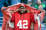 A San Francisco 49ers fans cheers on his team in a game against the Seattle Seahawks at CenturyLink Field in Seattle, Washington on December 24, 2011.  The 49ers came from behind to beat the Seahawks 19-17. ©2011 Jim Bryant Photo. All Rights Reserved.