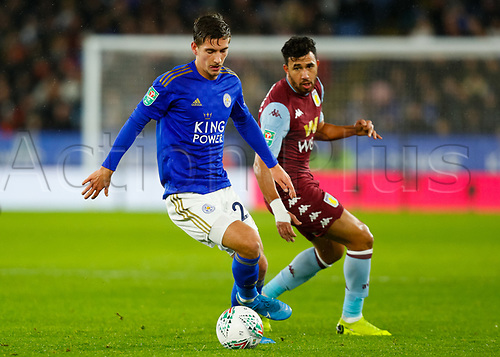 8th January 2020; King Power Stadium, Leicester, Midlands, England; English Football League Cup Football, Carabao Cup, Leicester City versus Aston Villa; Dennis Praet of Leicester City holds off Trezeguet of Aston Villa - Strictly Editorial Use Only. No use with unauthorized audio, video, data, fixture lists, club/league logos or 'live' services. Online in-match use limited to 120 images, no video emulation. No use in betting, games or single club/league/player publications