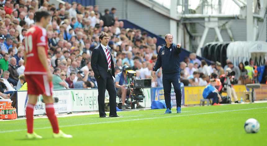 Middlesbrough manager Aitor Karanka looks on as Stewart Downing prepares to take a free kick<br /> <br /> Photographer Kevin Barnes/CameraSport<br /> <br /> Football - The Football League Sky Bet Championship - Preston North End v Middlesbrough -  Sunday 9th August 2015 - Deepdale - Preston<br /> <br /> &copy; CameraSport - 43 Linden Ave. Countesthorpe. Leicester. England. LE8 5PG - Tel: +44 (0) 116 277 4147 - admin@camerasport.com - www.camerasport.com