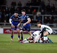 6th March 2020; AJ Bell Stadium, Salford, Lancashire, England; Gallagher Premiership Rugby, Sale Sharks versus London Irish;  Ben Meehan of London Irish looks to play the ball along his line
