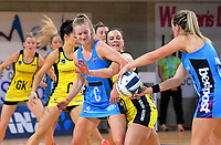 Wendy Frew (right) tries to pass to Shannon Francois (c) as Claire Kersten reaches for the ball during the ANZ Premiership netball match between the Central Pulse and Northern Stars at Te Rauparaha Arena in Wellington, New Zealand on Wednesday, 24 May 2017. Photo: Dave Lintott / lintottphoto.co.nz