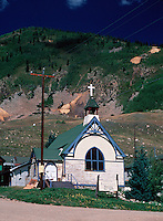 Aerial view of the Baptist Church in in the National Historic District of Silverton, Colorado, an old mining town.