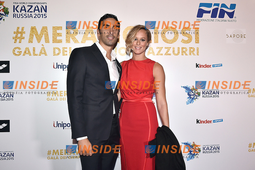Filippo Magnini, Federica Pellegrini <br /> Roma 28-09-2015 Via Veneto. Meravigliosi Gala' dei Campioni organizzato dalla FIN, Federazione Italiana Nuoto per festeggiare i successi dei Mondiali di Kazan 2015 . Party of the swimming italian federation. Foto Andrea Staccioli / Insidefoto