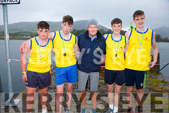 Callinafercy U16 Boys took top spot at the OTW Regatta on Sunday in Cahersiveen pictured here l-r; Cormac Doyle, Niall Murphy, John Joe O'Sullivan(coach), Nathan Houlihan & Aidan McCarthy.  Cromane finished in second and Valentia in third place.