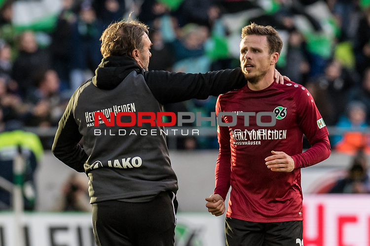 09.02.2019, HDI Arena, Hannover, GER, 1.FBL, Hannover 96 vs 1. FC Nuernberg<br /> <br /> DFL REGULATIONS PROHIBIT ANY USE OF PHOTOGRAPHS AS IMAGE SEQUENCES AND/OR QUASI-VIDEO.<br /> <br /> im Bild / picture shows<br /> Jubel 1:0, Nicolai Müller / Mueller (Neuzugang Hannover 96 #21) bejubelt seinen Treffer zum 1:0 mit Thomas Doll (Trainer Hannover 96), <br /> <br /> Foto © nordphoto / Ewert