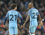 David Silva of Manchester City and Fernandinho of Manchester City during the Champions League Group C match at the Etihad Stadium, Manchester. Picture date: November 1st, 2016. Pic Simon Bellis/Sportimage