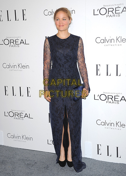 Erika Christensen.18th Annual ELLE Women in Hollywood celebration held at The Four Seasons in Beverly Hills, California, USA..October 17th, 2011.full length blue navy black lace dress clutch bag slit split.CAP/RKE/DVS.©DVS/RockinExposures/Capital Pictures.