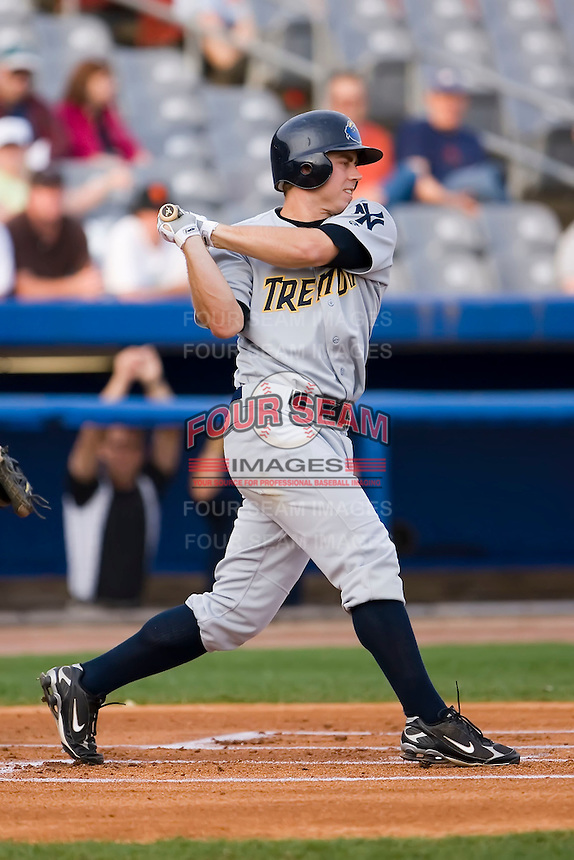 Colin Curtis (24) of the Trenton Thunder follows through on his swing versus the Connecticut Defenders at Dodd Stadium in Norwich, CT, Tuesday, June 3, 2008.