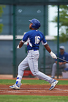 Los Angeles Dodgers Jordan Paroubeck (16) hits a home run during an instructional league game against the Cleveland Indians on October 15, 2015 at the Goodyear Ballpark Complex in Goodyear, Arizona.  (Mike Janes/Four Seam Images)