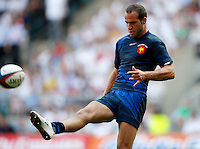 Photo: Richard Lane/Richard Lane Photography..England v France. Rugby World Cup 2007 Warm-up Match. 11/08/2007. .France's Frederic Michalak kicks the ball out to finish the game.