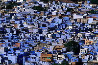 Overview of blue houses Jodhpur Rajasthan India