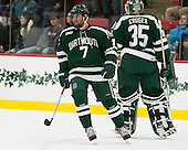 Rick Pinkston (Dartmouth - 7), James Kruger (Dartmouth - 35) - The Harvard University Crimson tied the visiting Dartmouth College Big Green 3-3 in both team's first game of the season on Saturday, November 1, 2014, at Bright-Landry Hockey Center in Cambridge, Massachusets.