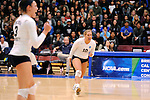 03 DEC 2011:  Erienne Lauersdorf (10) of Concordia University St. Paul celebrates a point against Cal State San Bernardino during the Division II Women's Volleyball Championship held at Coussoulis Arena on the Cal State San Bernardino campus in San Bernardino, Ca. Concordia St. Paul defeated Cal State San Bernardino 3-0 to win the national title. Matt Brown/ NCAA Photos