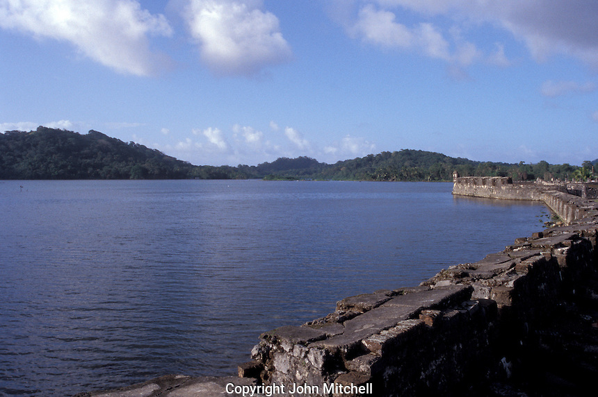 Fuerte San Jeronimo, the largest fort built by the Spanish to protect the bay at Portobelo on the Caribbean coast of Panama