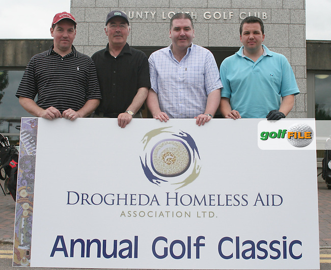 Westcourt Hotel's team, Padraic Lynch, Derry McCool. Kevin Clancy and Tom Sherlock at the Drogheda Homeless Aid Annual Golf Classic in Co.Louth Golf Club in Baltray...Photo NEWSFILE/Jenny Matthews.(Photo credit should read Jenny Matthews/NEWSFILE)....This Picture has been sent you under the condtions enclosed by:.Newsfile Ltd..The Studio,.Millmount Abbey,.Drogheda,.Co Meath..Ireland..Tel: +353(0)41-9871240.Fax: +353(0)41-9871260.GSM: +353(0)86-2500958.email: pictures@newsfile.ie.www.newsfile.ie.FTP: 193.120.102.198.