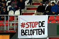 EMMEN - Voetbal, FC Emmen - Jong PSV, Jens Vesting, Jupiler League, seizoen 2017-2018, 13-10-2017,  spandoek tegen beloftenteams