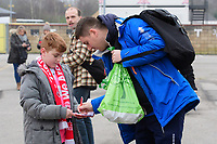 Lincoln City's lead sports scientist Luke Jelly signs autographs for fans as he arrives at the ground<br /> <br /> Photographer Chris Vaughan/CameraSport<br /> <br /> The EFL Sky Bet League Two - Lincoln City v Notts County - Saturday 13th January 2018 - Sincil Bank - Lincoln<br /> <br /> World Copyright &copy; 2018 CameraSport. All rights reserved. 43 Linden Ave. Countesthorpe. Leicester. England. LE8 5PG - Tel: +44 (0) 116 277 4147 - admin@camerasport.com - www.camerasport.com