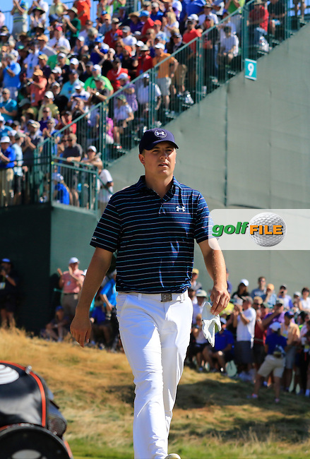 Jordan Speith (USA) walks off the 9th green during Sunday's Final Round of the 2015 U.S. Open 115th National Championship held at Chambers Bay, Seattle, Washington, USA. 6/22/2015.<br /> Picture: Golffile | Eoin Clarke<br /> <br /> <br /> <br /> <br /> All photo usage must carry mandatory copyright credit (&copy; Golffile | Eoin Clarke)