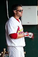 Chris Swauger (28) of the Springfield Cardinals stands in the dugout during a game against the Arkansas Travelers at Hammons Field on May 8, 2012 in Springfield, Missouri. (David Welker/ Four Seam Images).