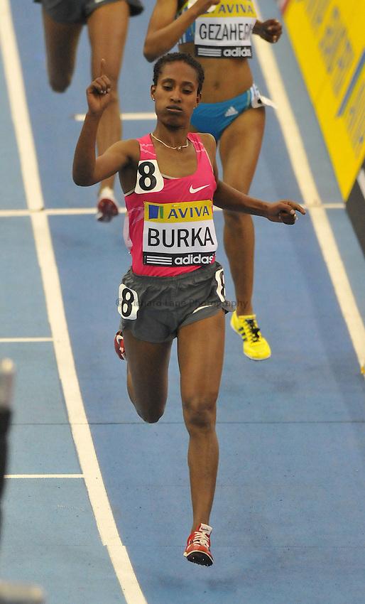 Photo: Tony Oudot/Richard Lane Photography. Aviva Grand Prix. 20/02/2010. .Gelete Burka of Ethiopia wins the Womens One Mile Race.
