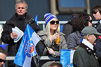 A Bath supporter in the crowd enjoys the sunshine prior to the match. Amlin Challenge Cup quarter-final, between Bath Rugby and Stade Francais on April 6, 2013 at the Recreation Ground in Bath, England. Photo by: Patrick Khachfe / Onside Images