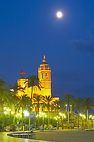 San Barthomieu i Santa Tecla church. At night. The coast walk. Sitges, Catalonia, Spain