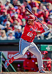 29 February 2020: Washington Nationals top prospect infielder Luis Garcia tees up his 2-run home-run in the 7th inning against the St. Louis Cardinals in Spring Training at Roger Dean Stadium in Jupiter, Florida. The Cardinals defeated the Nationals 6-3 in Grapefruit League play. Mandatory Credit: Ed Wolfstein Photo *** RAW (NEF) Image File Available ***