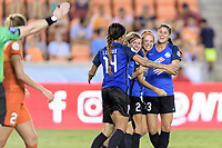 Houston, TX - Sunday August 13, 2017:  Sydney Leroux, Becca Moros, Shea Groom and Brittany Taylor during a regular season National Women's Soccer League (NWSL) match between the Houston Dash and FC Kansas City at BBVA Compass Stadium.