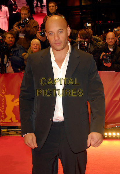 "VIN DIESEL.Premiere of ""Find Me Guilty"" at the 56th Berlin International Film Festival (Berlinale) in Berlin, Germany..February 16, 2006 .Ref: KRA.half length black suit jacket.www.capitalpictures.com.sales@capitalpictures.com.©Capital Pictures"