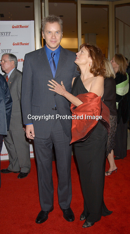 "..Tim Robbins and Susan Sarandon in Donna Karan dress..arriving at the opening of the 41st New York Film Festival ..screening of "" Mystic River"" on October 3, 2003 in New York City. Photo By Robin Platzer, Twin Images"