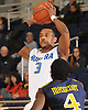 Hofstra University No. 3 Zeke Upshaw looks to pass around Drexel University No. 4 Frantz Massenat during the first half of an NCAA Division I men's basketball game at Mack Sports Arena on January 29, 2014. Hofstra trailed 40-32 at halftime.<br /> <br /> by James Escher / Freelance