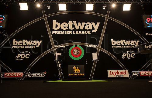 07.04.2016. The Sheffield Arena, Sheffield, England. Betway PDC Premier League Darts. Night 10.  General view of the stage in Sheffield.