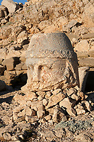 Statue head of Zeus in front of the stone pyramid 62 BC Royal Tomb of King Antiochus I Theos of Commagene, east Terrace, Mount Nemrut or Nemrud Dagi summit, near Adıyaman, Turkey