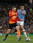 Gabriel Jesus of Manchester City is challenged by Mykola Matviyenko of Shakhtar Donetsk during the UEFA Champions League match at the Etihad Stadium, Manchester. Picture date: 26th November 2019. Picture credit should read: Darren Staples/Sportimage