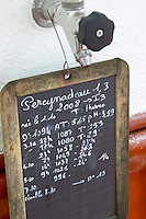 sign on tank with fermentation details must weight temperature etc pereynadeau chateau lestrille bordeaux france