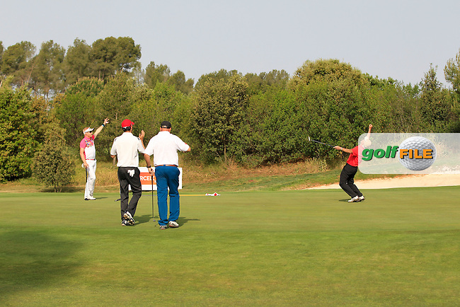 Playing with Simon Dyson (ENG) on the 8th green during the Pro-Am of the Open de Espana  in Club de Golf el Prat, Barcelona on Wednesday 13th May 2015.<br /> Picture:  Thos Caffrey / www.golffile.ie