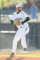 Starting pitcher Tyler Barnette (18) of the Charlotte 49ers in action against the Delaware State Hornets at Robert and Mariam Hayes Stadium on February 15, 2013 in Charlotte, North Carolina.  The 49ers defeated the Hornets 13-7.  (Brian Westerholt/Four Seam Images)