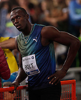 Usain Bolt of Jamaica reacts at the end of the 100m event at the Golden Gala IAAF Diamond League  at the Olympic stadium in Rome