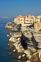 Bonifacio. Most southerly town in Corsica. Perched on limestone cliffs behind fortifications on its narrow peninsula above the Mediterranean. France.