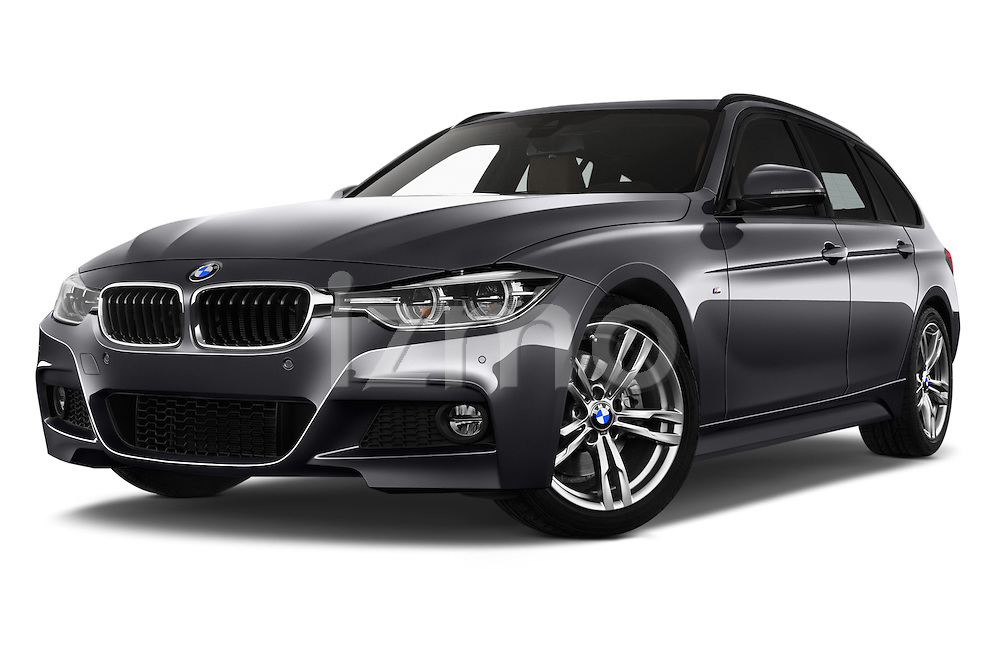 Stock pictures of low aggressive front three quarter view of 2016 BMW 3 Series M Sport 5 Door Wagon Low Aggressive