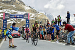Simon Yates (GBR) Mitchelton-Scott and Maglia Rosa Jan Polanc (SLO) UAE Team Emirates go under the 1km to go banner to the finish of Stage 13 of the 2019 Giro d'Italia, running 196km from Pinerolo to Ceresole Reale (Lago Serrù), Italy. 24th May 2019<br /> Picture: Marco Alpozzi/LaPresse | Cyclefile<br /> <br /> All photos usage must carry mandatory copyright credit (© Cyclefile | Marco Alpozzi/LaPresse)