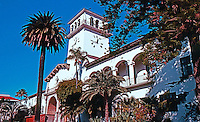 Santa Barbara CA: Santa Barbara County Courthouse--1929. Wm. Mooser & Co. Mission Revival. Photo 1983.