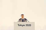 Yoshiro Mori,<br /> JULY 24, 2015 : <br /> The Tokyo Organising Committee of the Olympic and Paralympic Games unveils the official emblem for the 2020 Tokyo Olympic and Paralympic Games at the forecourt of the Tokyo Metropolitan Assembly building in Tokyo, Japan, <br /> This event took place five-year before the Tokyo 2020 Olympics.<br /> (Photo by Shingo Ito/AFLO SPORT)
