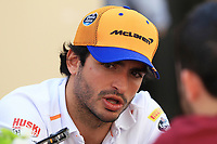 28th November 2019; Yas Marina Circuit, Abu Dhabi, United Arab Emirates; Formula 1 Abu Dhabi Grand Prix, arrivals day; McLaren driver Carlos Sainz - Editorial Use