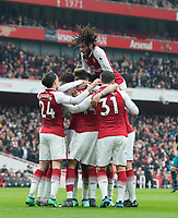 Arsenal's players celebrating Pierre - Emerick Aubameyang  goal during the EPL - Premier League match between Arsenal and Southampton at the Emirates Stadium, London, England on 8 April 2018. Photo by Andrew Aleksiejczuk / PRiME Media Images.